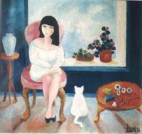Quadro con Laura mora e gatto bianco